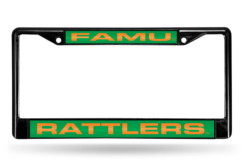 NCAA Florida A&M Rattlers Black Laser Cut Chrome License Plate Frame