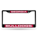 NCAA Georgia Bulldogs Black Laser Cut Chrome License Plate Frame