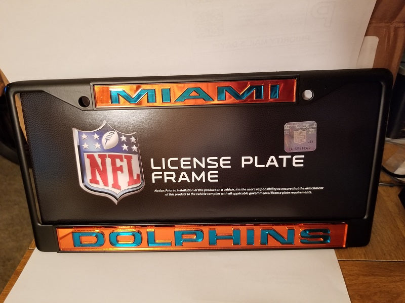 NFL Miami Dolphins Black Laser Cut Chrome License Plate Frame