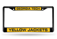 NCAA Georgia Tech Yellow Jackets Black Laser Cut Chrome License Plate Frame