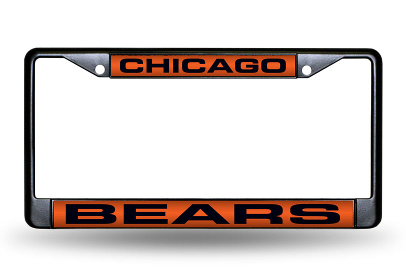 NFL Chicago Bears Black Laser Cut Chrome License Plate Frame