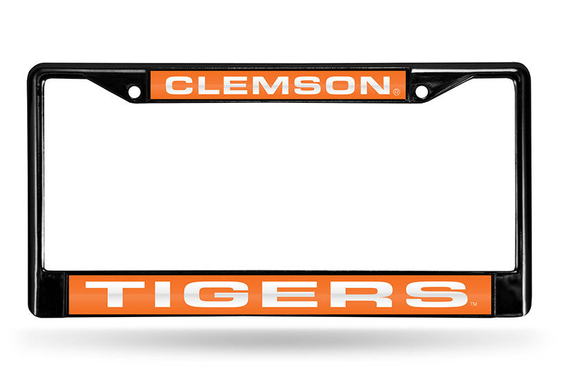 NCAA Clemson Tigers Black Laser Cut Chrome License Plate Frame