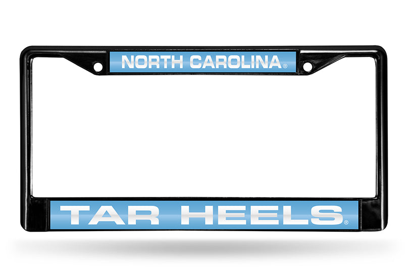 NCAA North Carolina Tar Heels Black Laser Cut Chrome License Plate Frame