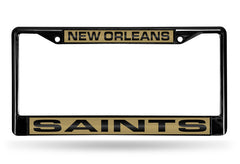 NFL New Orleans Saints Black Laser Cut Chrome License Plate Frame
