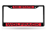 NCAA NC State Wolfpack Black Laser Cut Chrome License Plate Frame