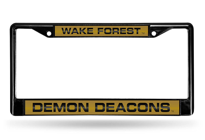 NCAA Wake Forest Demon Deacons Black Laser Cut Chrome License Plate Frame
