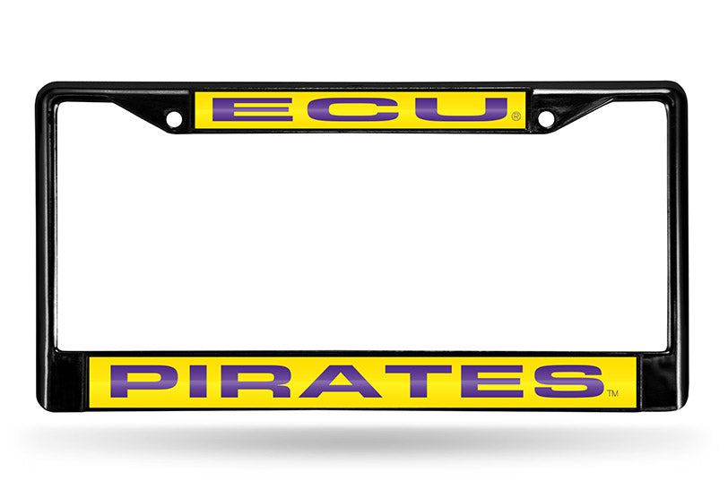 NCAA East Carolina Pirates Black Laser Cut Chrome License Plate Frame