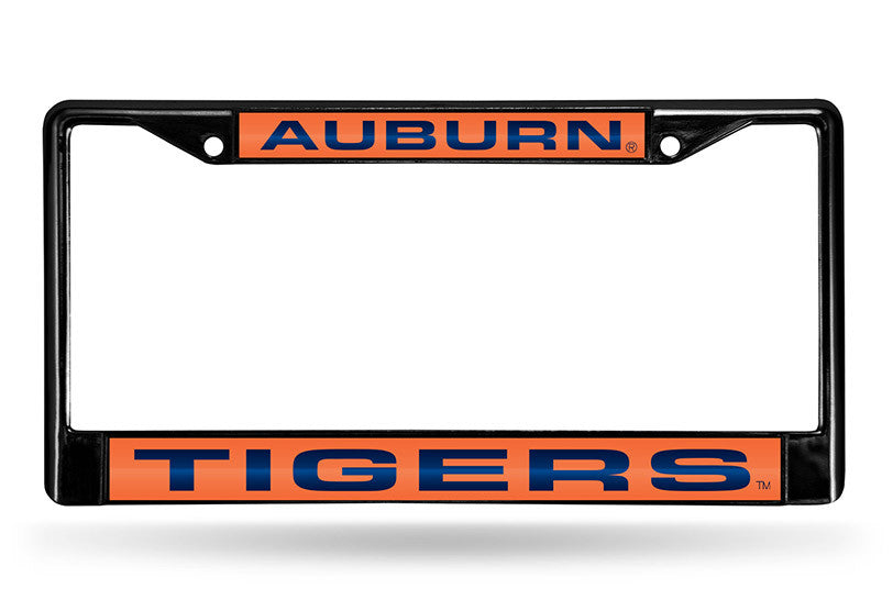 NCAA Auburn Tigers Black Laser Cut Chrome License Plate Frame