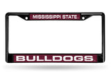 NCAA Mississippi State Bulldogs Black Laser Cut Chrome License Plate Frame