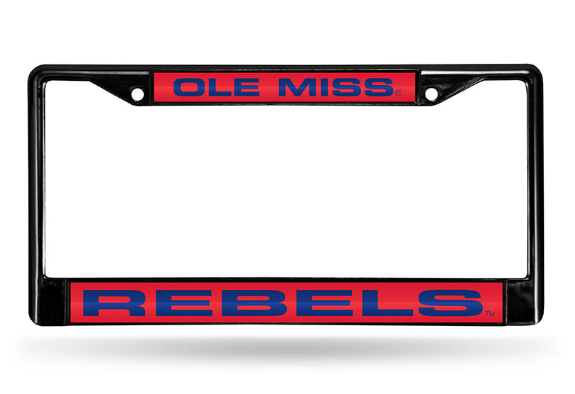 NCAA Ole Miss Rebels Black Laser Cut Chrome License Plate Frame