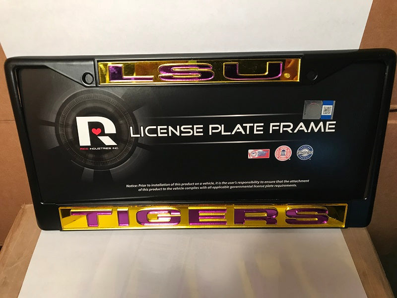 NCAA LSU Tigers Black Laser Cut Chrome License Plate Frame