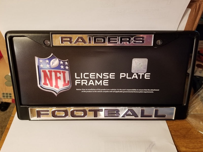 NFL Oakland Raiders Black Laser Cut Chrome License Plate Frame