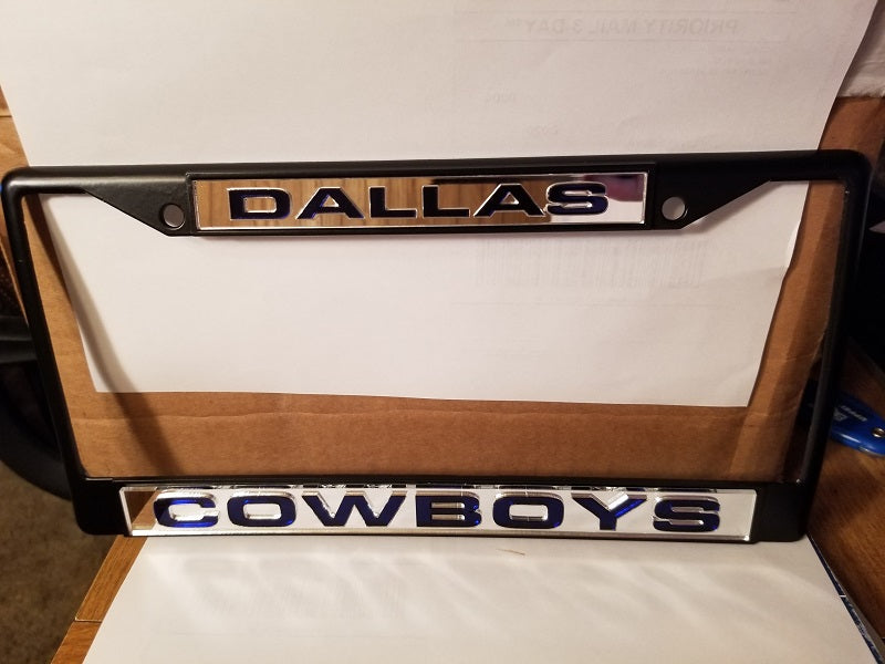 NFL Dallas Cowboys Black Laser Cut Chrome License Plate Frame