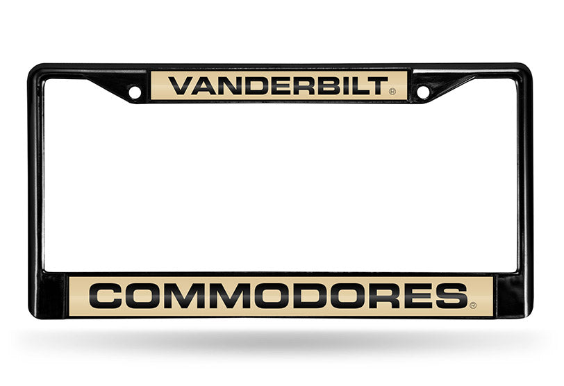NCAA Vanderbilt Commodores Black Laser Cut Chrome License Plate Frame