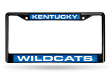 NCAA Kentucky Wildcats Black Laser Cut Chrome License Plate Frame