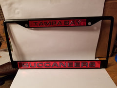 NFL Tampa Bay Buccaneers Black Laser Cut Chrome License Plate Frame