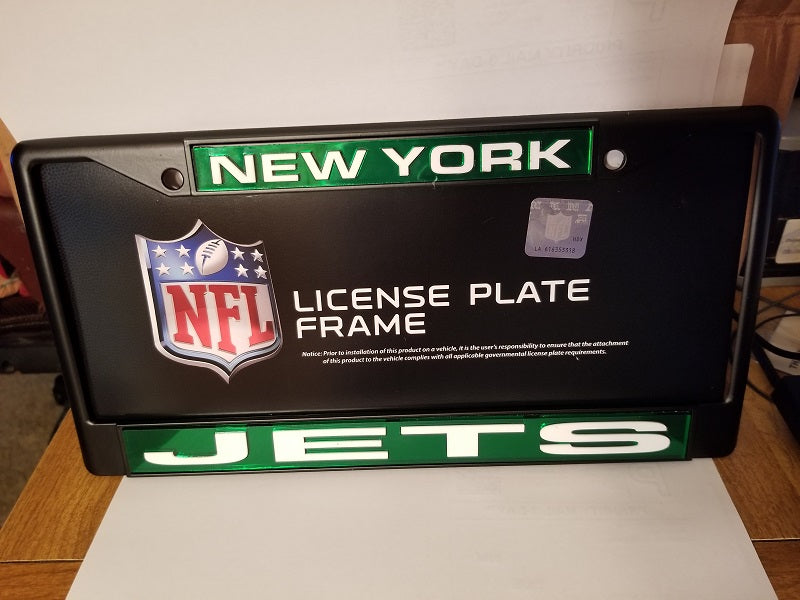 NFL New York Jets Black Laser Cut Chrome License Plate Frame