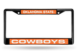 NCAA Oklahoma State Cowboys Black Laser Cut Chrome License Plate Frame