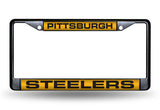 NFL Pittsburgh Steelers Black Laser Cut Chrome License Plate Frame