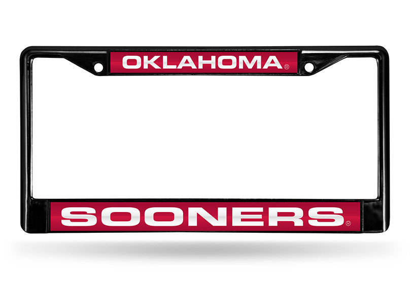 NCAA Oklahoma Sooners Black Laser Cut Chrome License Plate Frame
