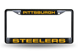 NFL Pittsburgh Steelers Black Laser Cut Chrome License Plate Frame - Alternate
