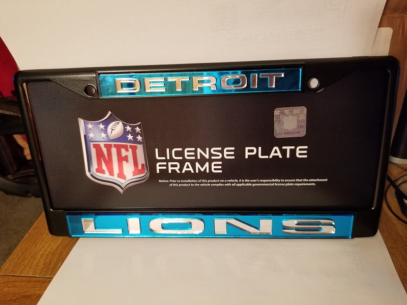 NFL Detroit Lions Black Laser Cut Chrome License Plate Frame