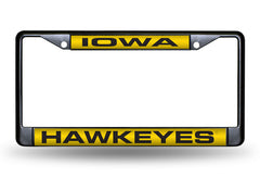 NCAA Iowa Hawkeyes Black Laser Cut Chrome License Plate Frame