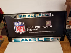 NFL Philadelphia Eagles Black Laser Cut Chrome License Plate Frame