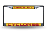 NCAA Iowa State Cyclones Black Laser Cut Chrome License Plate Frame