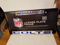 NFL Indianapolis Colts Black Laser Cut Chrome License Plate Frame