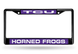 NCAA TCU Horned Frogs Black Laser Cut Chrome License Plate Frame
