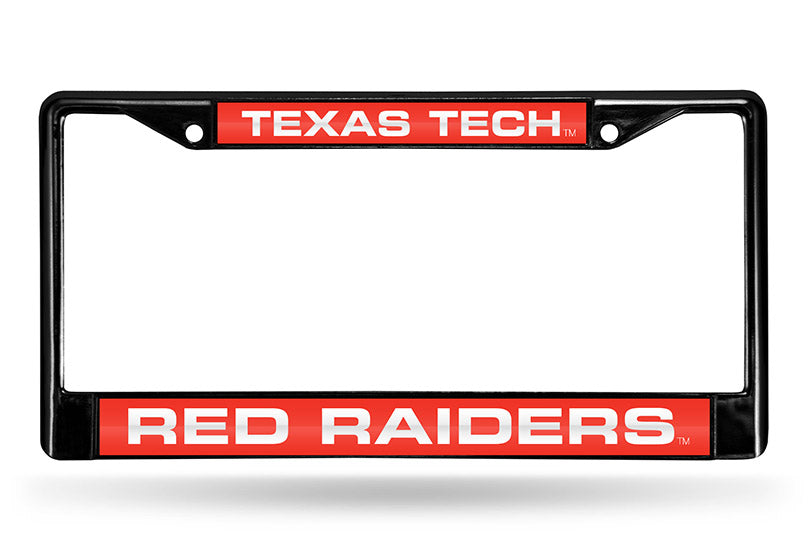 NCAA Texas Tech Red Raiders Black Laser Cut Chrome License Plate Frame