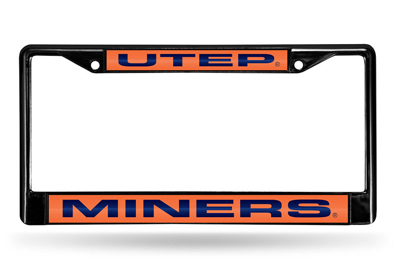 NCAA UTEP Miners Black Laser Cut Chrome License Plate Frame