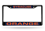 NCAA Syracuse Orange Black Laser Cut Chrome License Plate Frame