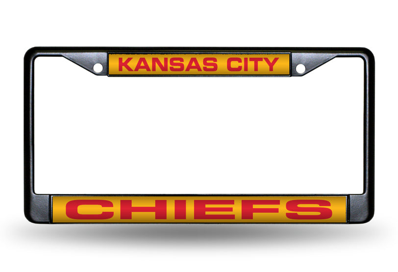 NFL Kansas City Chiefs Black Laser Cut Chrome License Plate Frame