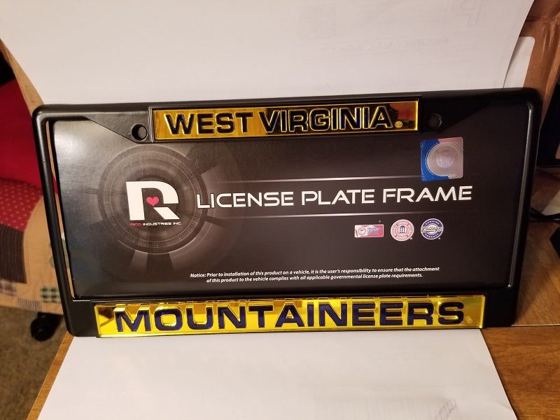 NCAA West Virginia Mountaineers Black Laser Cut Chrome License Plate Frame