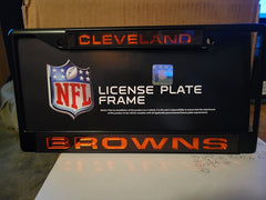 NFL Cleveland Browns Black Laser Cut Chrome License Plate Frame