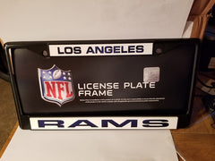 NFL Los Angeles Rams Black Laser Cut Chrome License Plate Frame