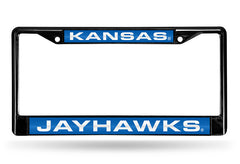 NCAA Kansas Jayhawks Black Laser Cut Chrome License Plate Frame