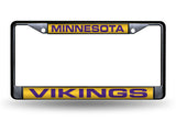 NFL Minnesota Vikings Black Laser Cut Chrome License Plate Frame