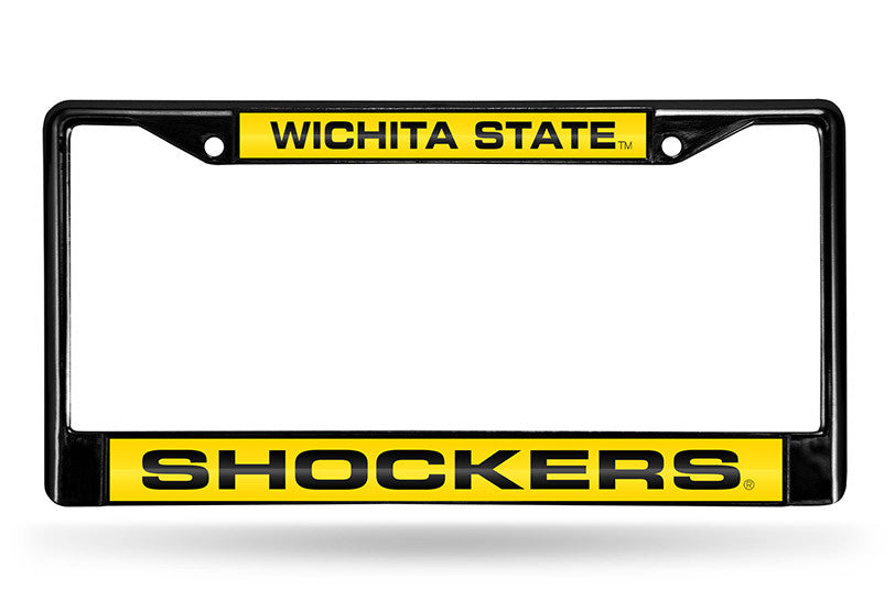 NCAA Wichita State Shockers Black Laser Cut Chrome License Plate Frame