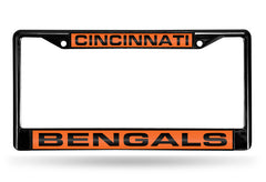 NFL Cincinnati Bengals Black Laser Cut Chrome License Plate Frame