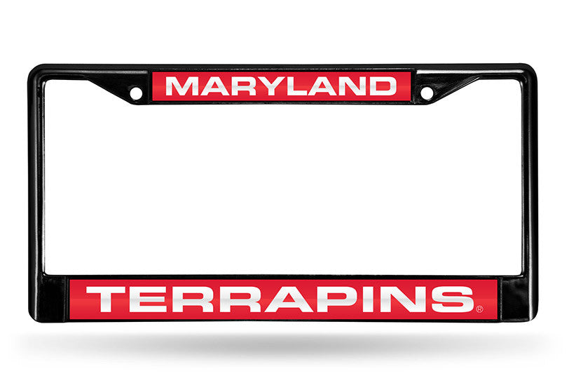 NCAA Maryland Terrapins Black Laser Cut Chrome License Plate Frame