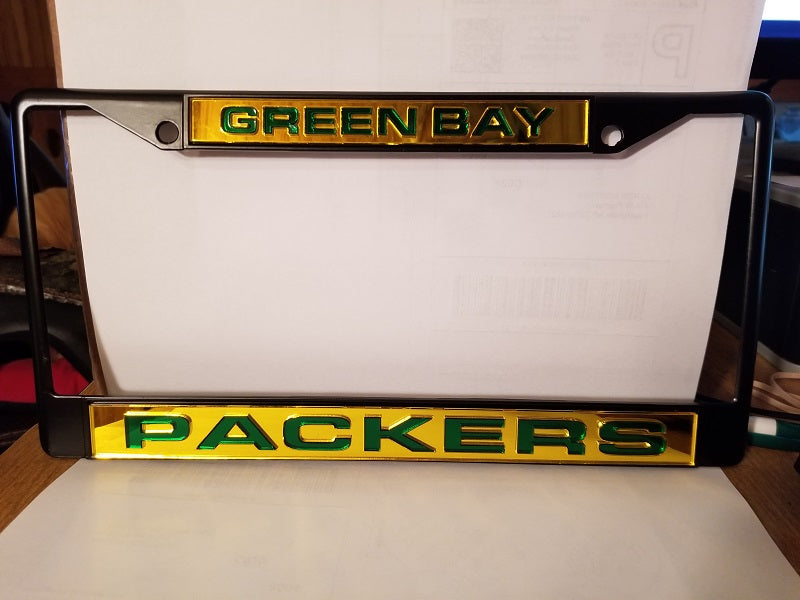 NFL Green Bay Packers Black Laser Cut Chrome License Plate Frame