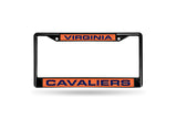 NCAA Virginia Cavaliers Black Laser Cut Chrome License Plate Frame