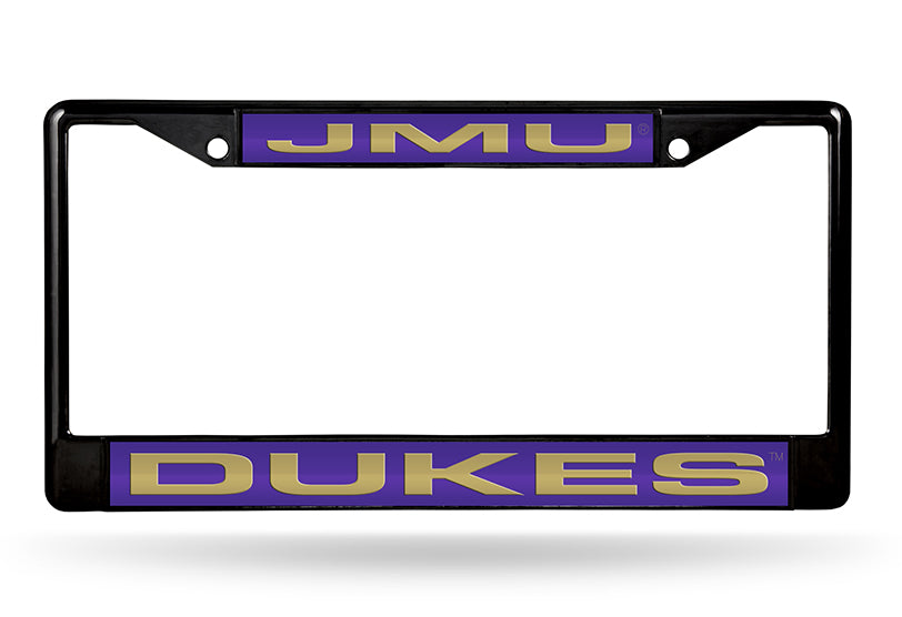 NCAA James Madison Dukes Black Laser Cut Chrome License Plate Frame