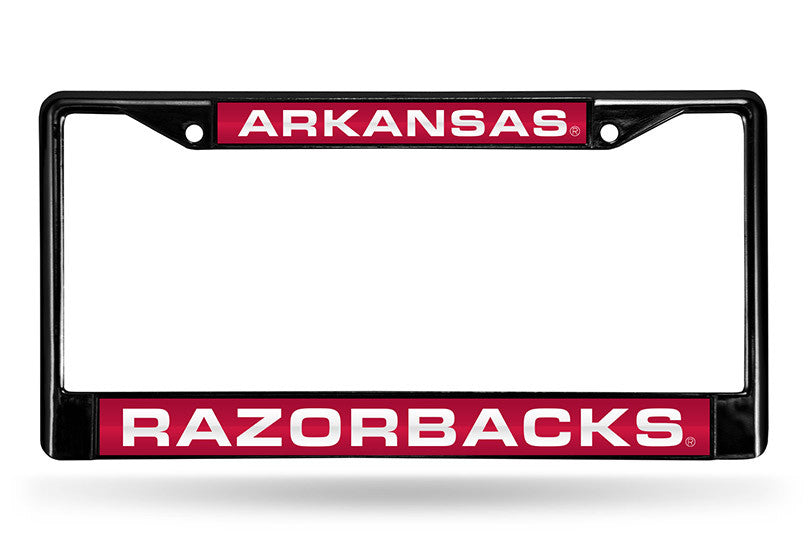NCAA Arkansas Razorbacks Black Laser Cut Chrome License Plate Frame