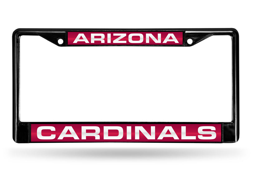 NFL Arizona Cardinals Black Laser Cut Chrome License Plate Frame