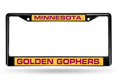 NCAA Minnesota Golden Gophers Black Laser Cut Chrome License Plate Frame
