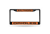 MLB Baltimore Orioles Black Laser Cut Chrome License Plate Frame